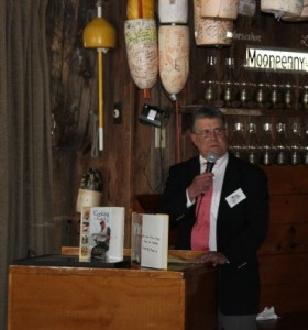 Toby Lineaweaver, Director of Operations for Penikese, speaks at a fundraiser in May.