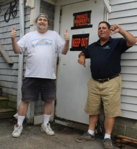 "Former bartenders, Stevan ""Otis"" O'Kernick and Joe Rocha, at the back door."