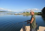 Tuck Hayashi, fishing in the lagoon where he hooked a great white shark ten years ago.