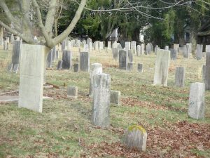 The Old Burying Ground off Mill Road contains the graves of the first European settlers of the town.