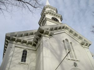 The First Congregational Church on the Village Green was the third meeting house built in town.