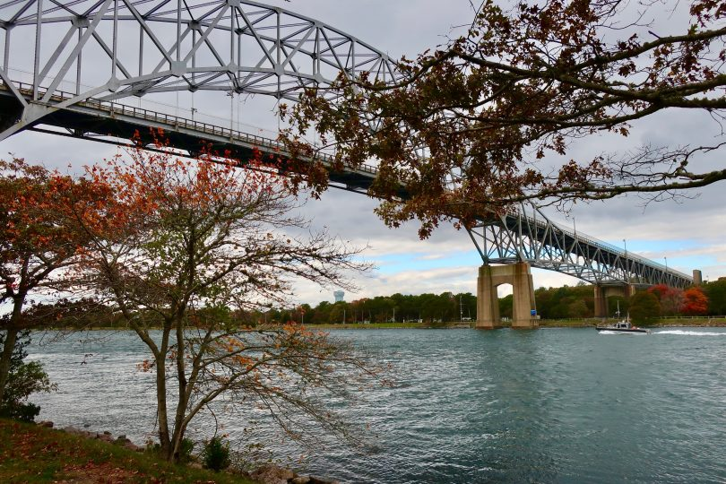 Bourne Bridge, tugboat & foliage