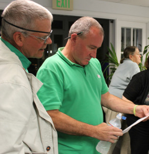Candidate Marc Finneran looks at Falmouth election results from precinct 1