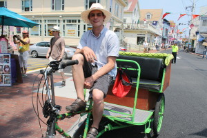 Emil Cliggott-Perlt, who just graduated from college in May 2013, runs a competing pedicab service, B&E Pedicabs, which started last summer in Provincetown.