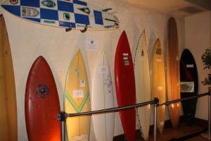 A display of surfboards shaped on Cape Cod.