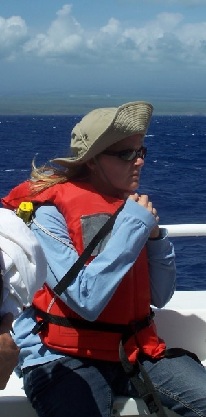 Julie Huber on a ship near Hawaii. PHOTO CREDIT: JULIE HUBER