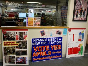 Signs in the fire station urge voters to approve a new fire station.